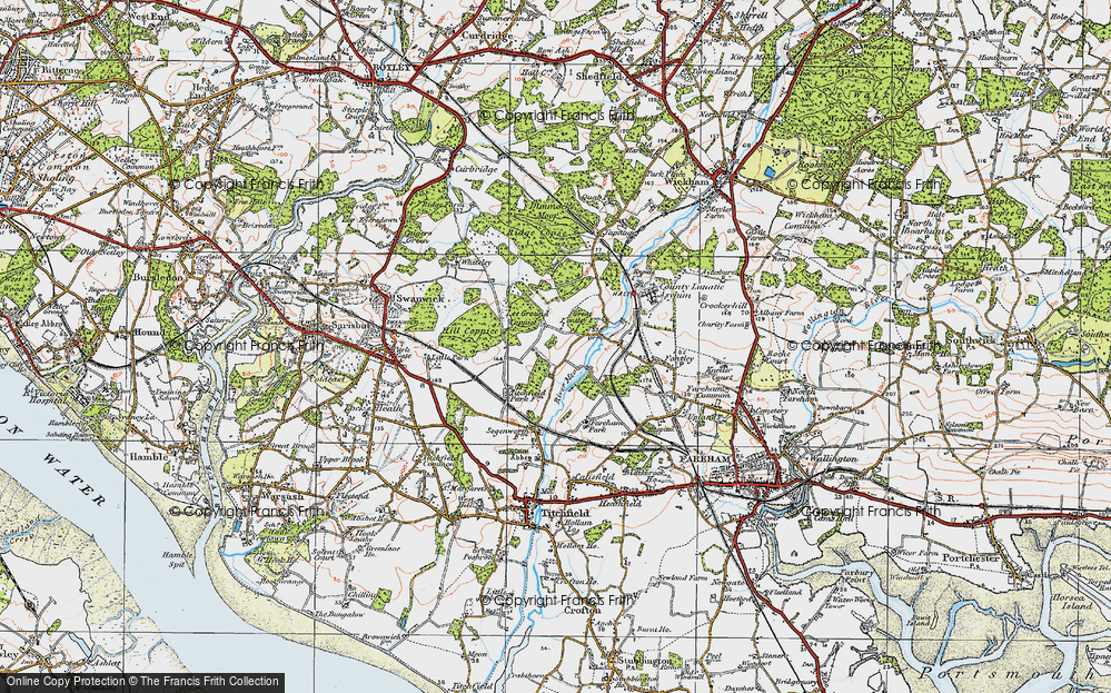 Old Map of Lee Ground, 1919 in 1919