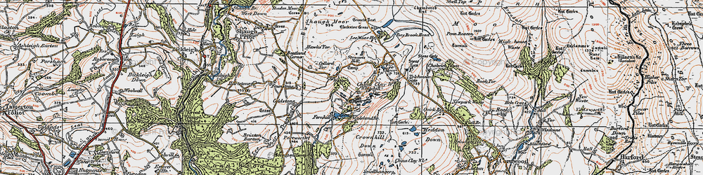 Old map of Whitehill Tor in 1919