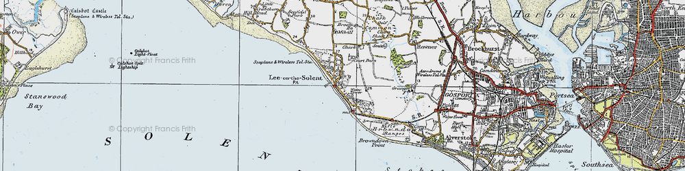 Old map of Lee-on-the-Solent in 1919