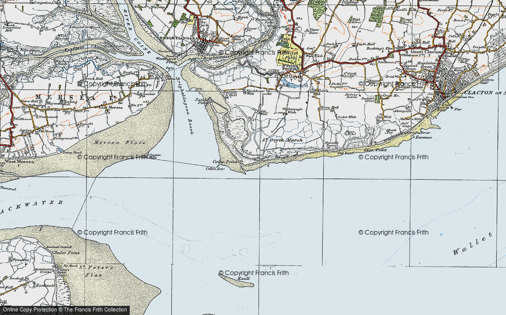 Old Map of Lee-over-Sands, 1921 in 1921