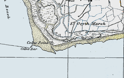 Old map of Lee-over-Sands in 1921