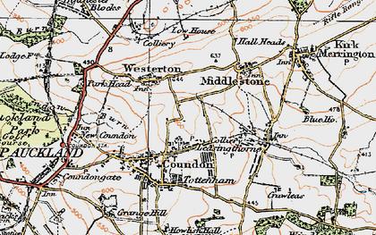 Old map of Leeholme in 1925