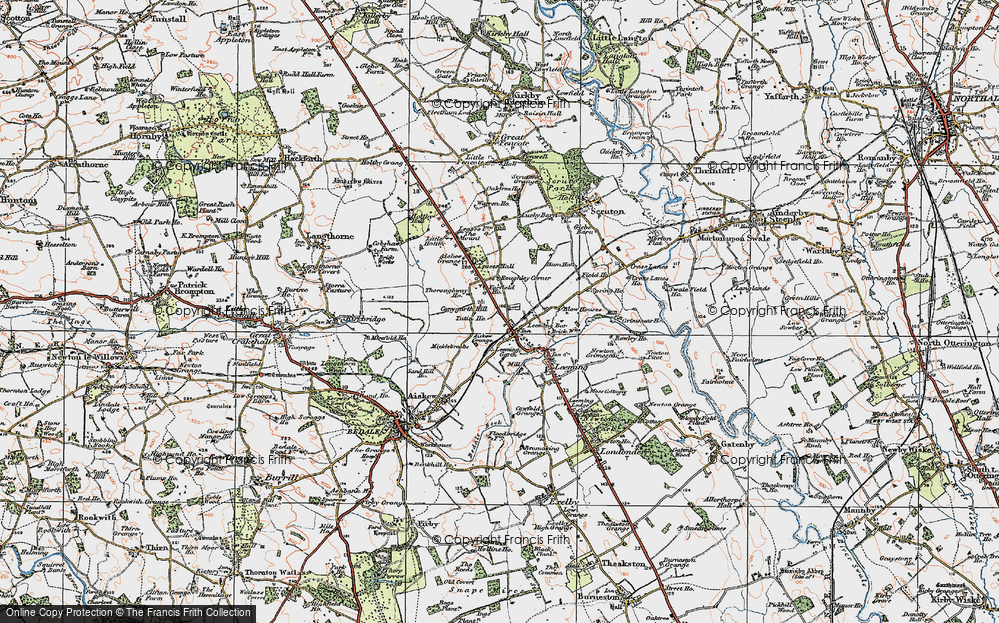 Old Map of Historic Map covering Leases Grange in 1925