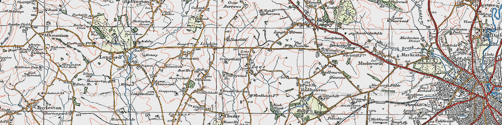 Old map of Lees in 1921