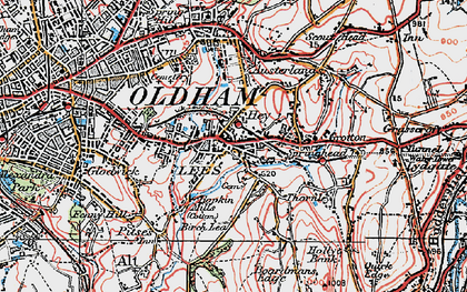 Old map of Lees in 1924