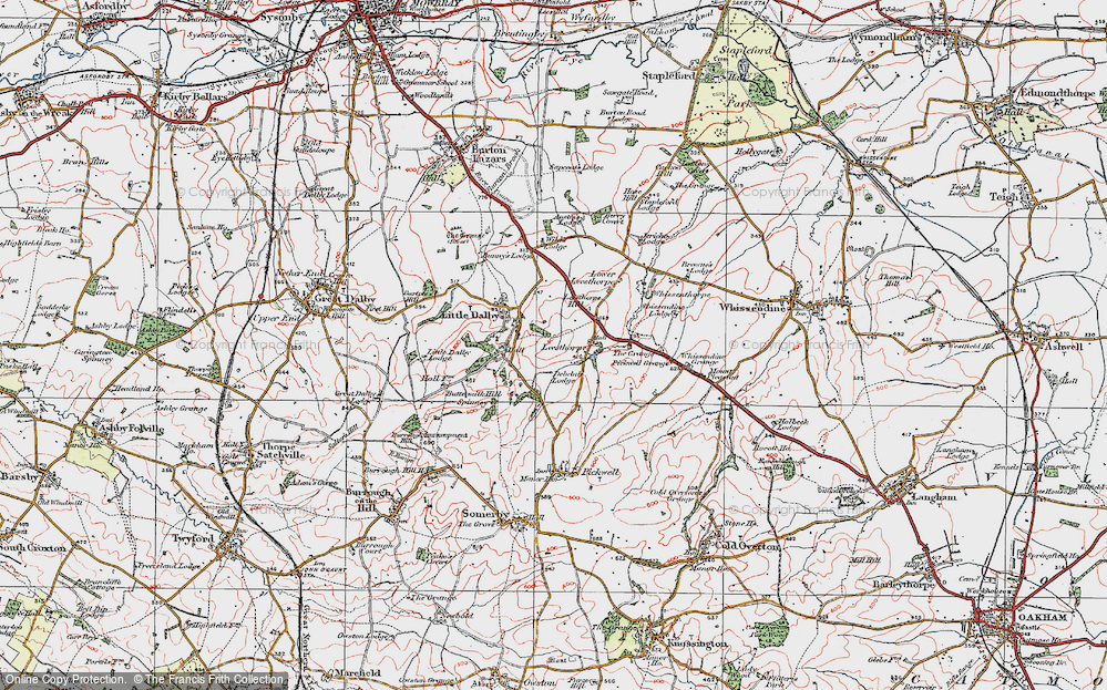 Old Map of Historic Map covering Leesthorpe Hill in 1921