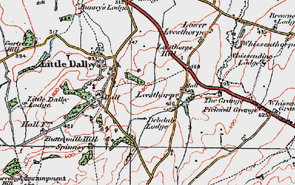 Old map of Leesthorpe Hill in 1921