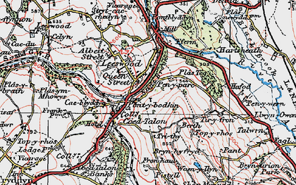 Old map of Leeswood in 1924