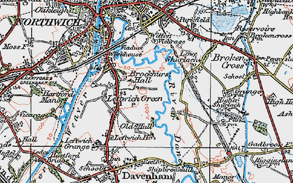 Old map of Leftwich in 1923
