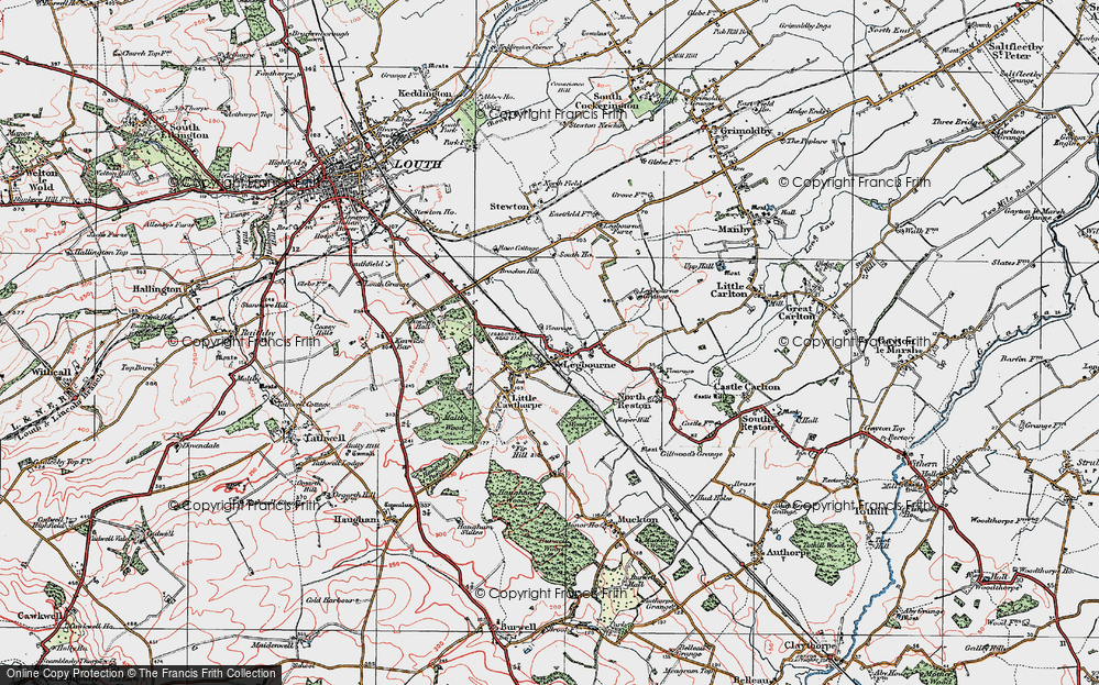 Old Map of Historic Map covering Kenwick Hall in 1923