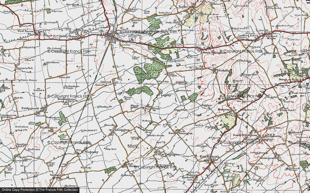 Old Map of Historic Map covering Legsby Wood in 1923