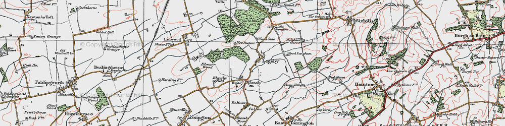 Old map of Wood Langham in 1923