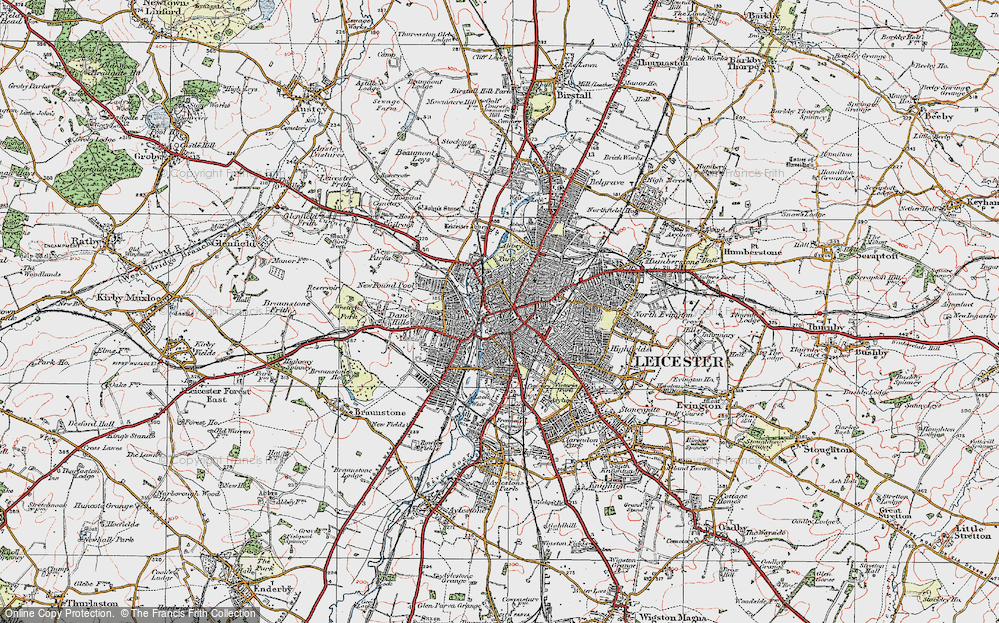 Old Map of Leicester, 1921 in 1921