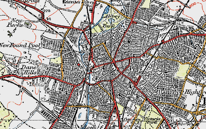 Old map of Leicester in 1921