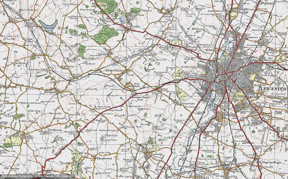 Old Map of Leicester Forest East, 1921 in 1921