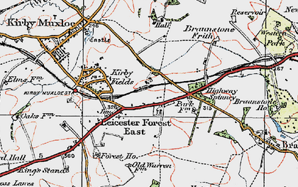 Old map of Leicester Forest East Service Area in 1921