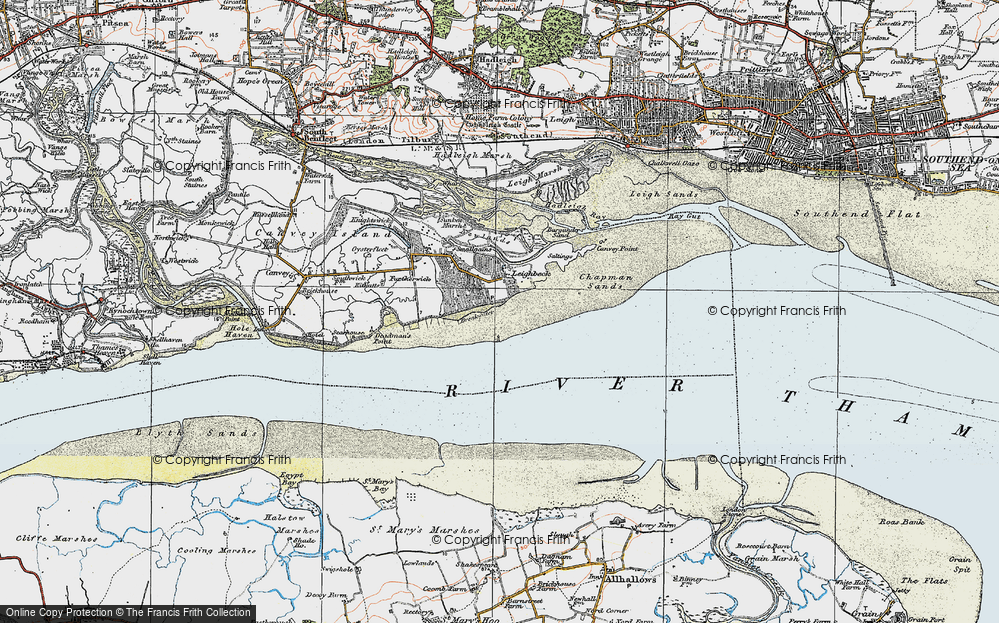Old Map of Historic Map covering Leigh Middle in 1921