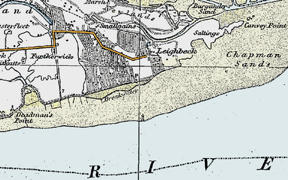Old map of Leigh Middle in 1921