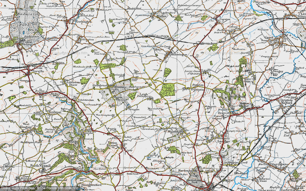 Old Map of Leigh Delamere, 1919 in 1919