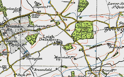 Old map of Leigh Delamere in 1919