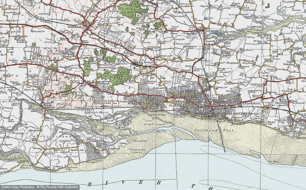 Old Map of Leigh-on-Sea, 1921 in 1921
