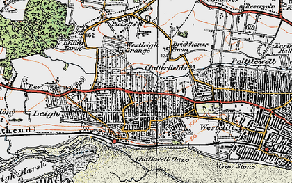 Old map of Leigh-on-Sea in 1921