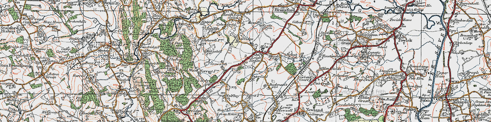 Old map of Leigh Sinton in 1920