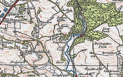 Old map of Plym Bridge in 1919