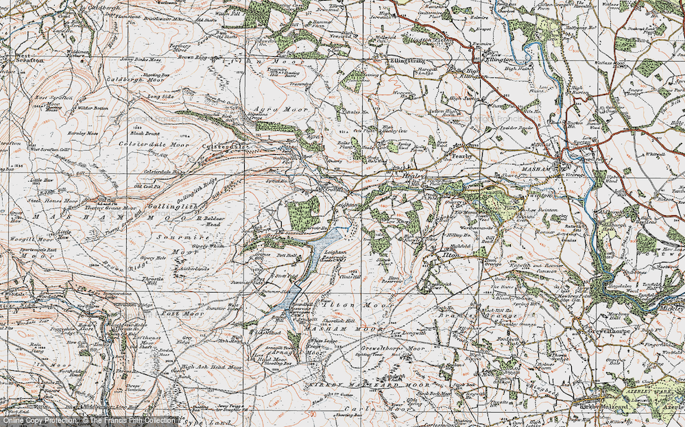 Old Map of Historic Map covering Leighton Resr in 1925