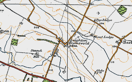 Old map of Leighton Bromswold in 1920