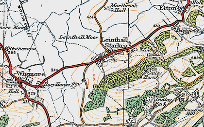 Old map of Leinthall Starkes in 1920