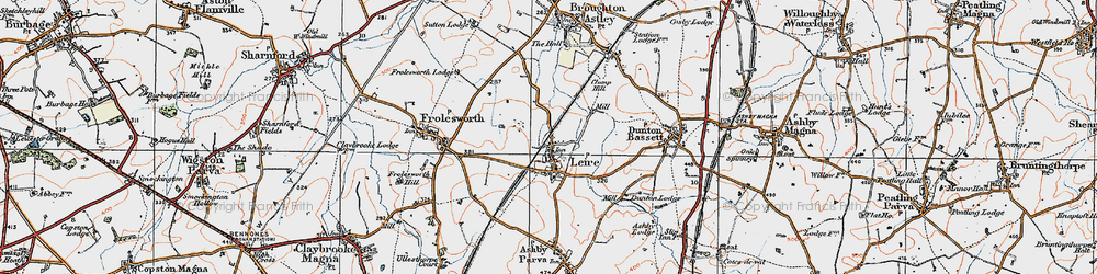 Old map of Leire in 1920