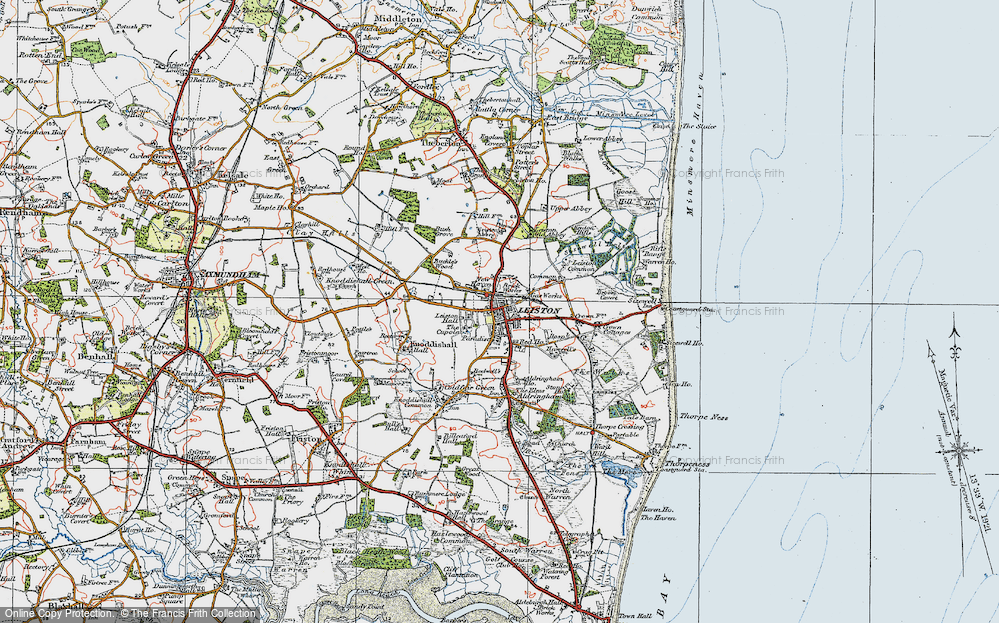 Old Map of Historic Map covering Leiston Common in 1921