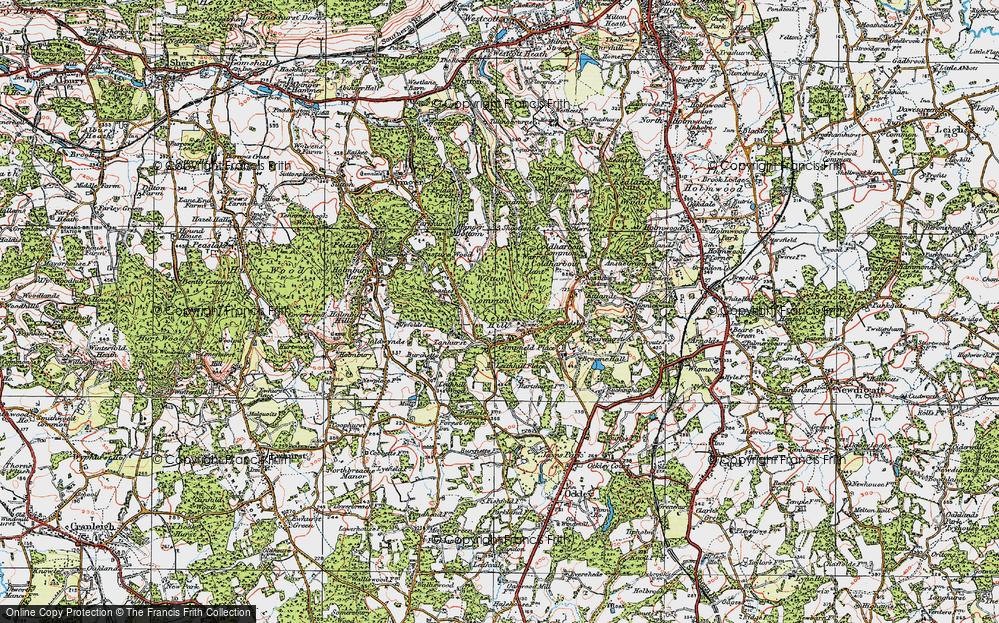Old Map of Leith Hill, 1920 in 1920