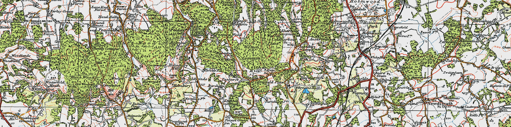 Old map of Leith Hill in 1920