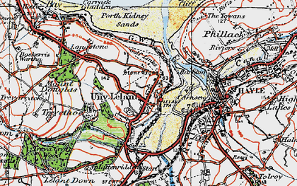 Old map of Lelant Saltings Sta in 1919