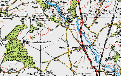 Old map of Lemsford in 1920