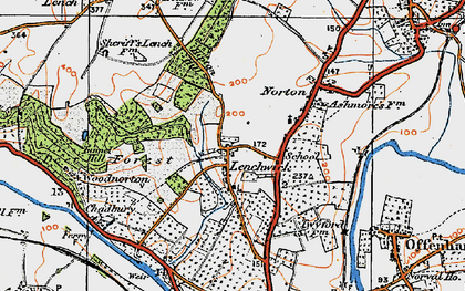 Old map of Lenchwick in 1919