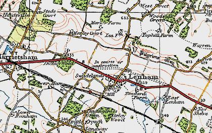 Old map of Lenham in 1921