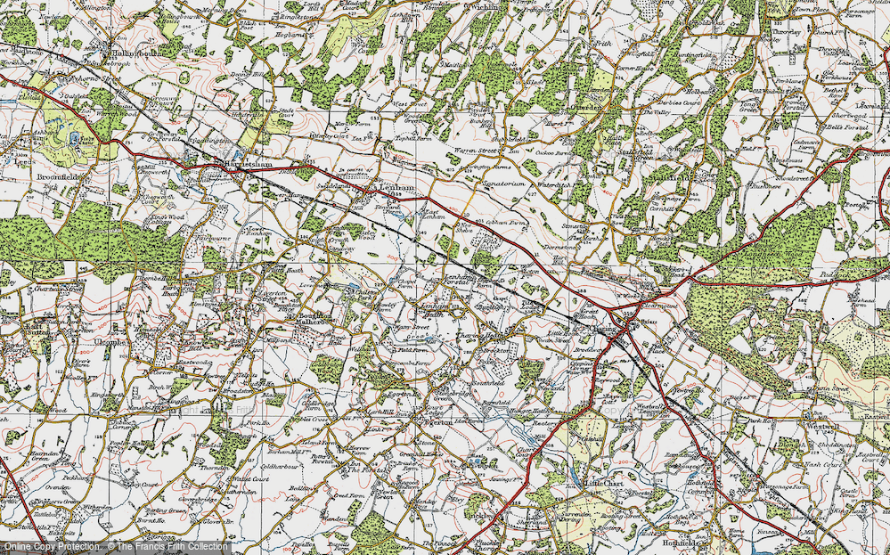 Old Map of Historic Map covering Kent in 1921
