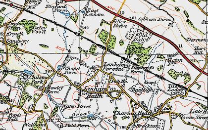 Old map of Lenham Forstal in 1921