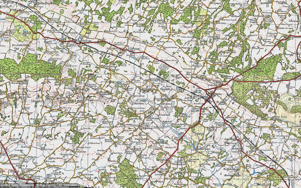 Old Map of Lenham Heath, 1921 in 1921