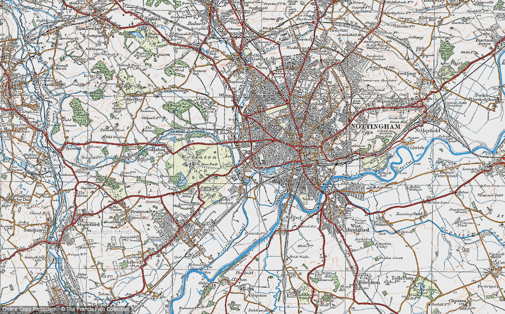 Old Map of Lenton, 1921 in 1921