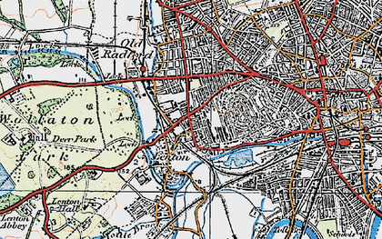 Old map of Lenton in 1921