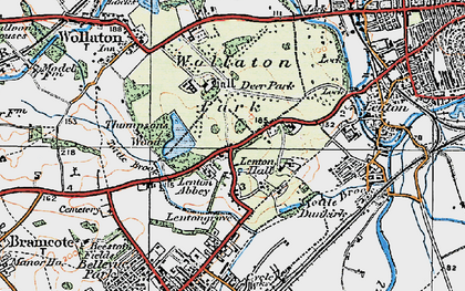 Old map of Lenton Abbey in 1921