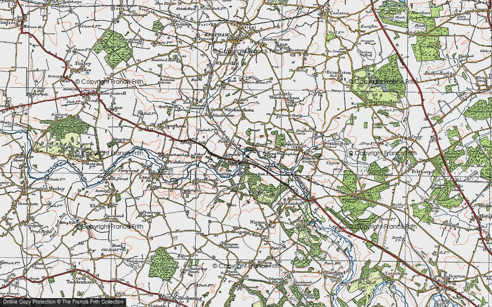Old Map of Lenwade, 1921 in 1921