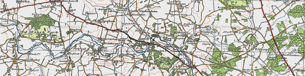 Old map of Lenwade in 1921