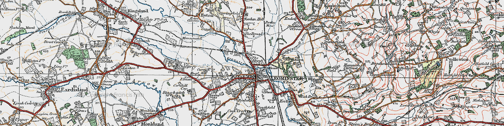 Old map of Leominster in 1920