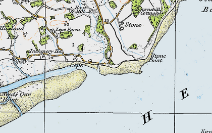 Old map of Lepe in 1919