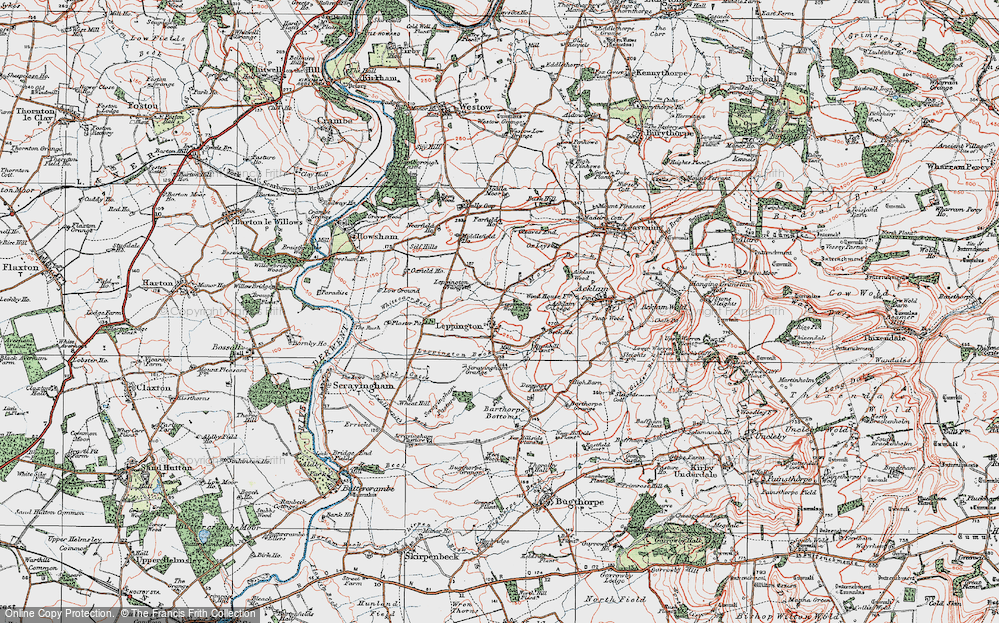 Old Map of Historic Map covering Acklam Wood in 1924